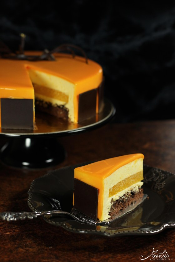 Orangentorte mit Schokoladenknusperboden & Glanzglasur