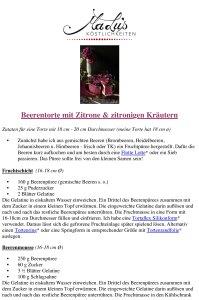 Rezeptdruck Beerentorte mit Zitrone & Kräutern