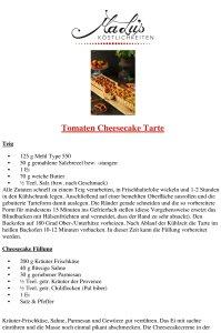 Tomaten Cheesecake Tarte Rezept