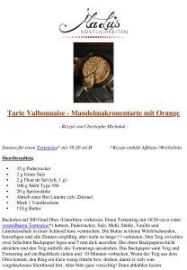 Rezept - Tarte Valbonnaise - Chr. Michalak